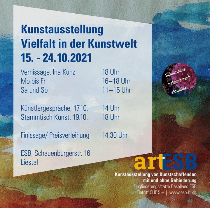 Herzlich Willkommen zur Ausstellung von Kunstschaffenden mit und ohne Behinderung in der Eingliederungsstätte Baselland in Liestal.